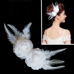 Fashion Bridal White Feather Fabric Flower Hair Clip Wedding Accessory Rhinestone Headpiece.Women Girl party PromAccessories