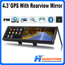 Wholesale 4 quot Car GPS Rearview Mirror GPS Navigator WinCE Games FM Video GB Free IGO Maps MHZ Video AVI MP4 MP3
