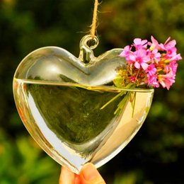Wholesale Hanging Loving Heart Crystal Glass Plant Flower Vase Pot Hydroponic Container Terrarium Pot Home Wedding Party Decoration Gift