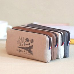 Wholesale Retro towers linen pencil bag students Paris style pencil cases stationery material escolar office supplies Bargains dandys