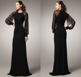 2015 Zuhair Murad Evening Dresses Sheath Jewel Sheer Long Sleeve Black Women Vintage Evening Gowns For Special Occasion