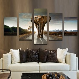 5 Panel Elephant Painting Wall Art Picture Home Decoration Canvas Painting Landscape Unframed Painting Free Shipping