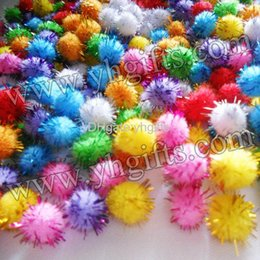 Wholesale 500PCS mm Glitter pompom Chenile pom pom DIY accessories Christmas ornament Kids DIY Craft material color on stock OEM