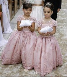 New Arrival Lovely Pearl Pink Flower Girls' Dresses Jewel Sheer Neckline Short Lace Sleeves Floor Length Princess Ball Gown Pageant Dress