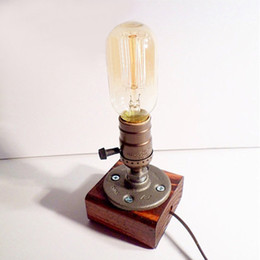 Wholesale Best Promotion Loft Vintage E27 Edison Bulb Table Lamp Dimmable Water Pipe Light Home Bar Decor order lt no track