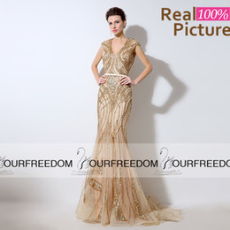 LX053 Real Image Champagne Tulle Long Mermaid Evening Dresses 2016 Custom Made V Neck Heavy Beaded Crystal See Tough Back Prom Party Gown