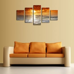 5 Panel Seascape Sunset Painting Home Wall Decor Canvas Picture Art HD Print Painting Free Shipping