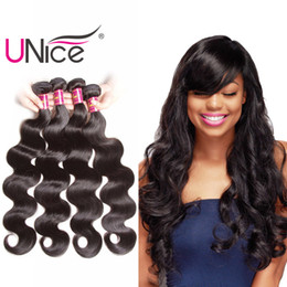UNice Hair 4 Bundles Body Wave 8-30inch Mix Length Brazilian Peruvian Virgin Human Hair Extensions Indian Malaysian Wholesale Remy Hair