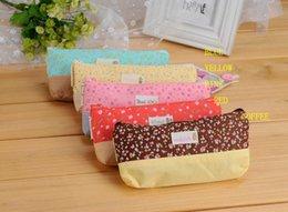 Wholesale-Small pure fresh flowers pen bag Multi-functional contracted pen bag Cute pencil canvas bag