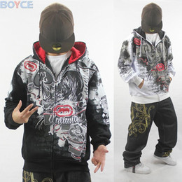 Wholesale-2015 New Hip Hop Hoodies Rhino Brand Mens Hooded Cardigans Coat Fashion Pattern Outerwear Overcoat Sweatshirt black white