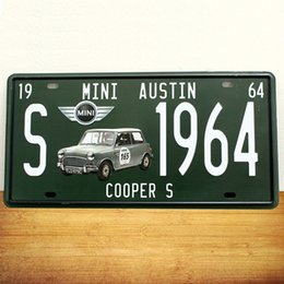 Wholesale new Mini Austin Famous Car Tin Plate Vintage Metal Painting Poster License Plate Wall stickers Decoration Home Decor Art Tin Sign
