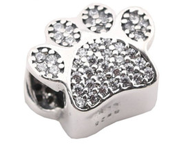 100% Sterling Silver Charms 925 Ale Rhinestone Pet Footprint European Charms for Pandora Bracelets Acessories DIY Beads
