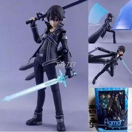 Купить Онлайн Аниме искусство-15CM Аниме Sword Art Online kirigaya Kazuto Figma 174 Сан ПВХ фигурку Коллекционная модель игрушки