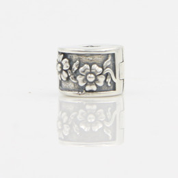 Wholesale 100 Sterling Silver Pandora Bracelet Necklace Pendent DIY Bead Jewelry White Crystal Antique Flower Charm Bead In Lucky Sonny Store