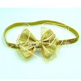 Gold Hair Bow with Glitter Elastic Headband Baby Headband Glitter Headband Hair Bow Headband 20pcs lot