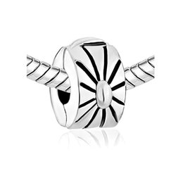 Rhodium Plating Copper Material Bracelet flower Locket European Clip Stopper Charm Bead Fit Pandora Bracelet