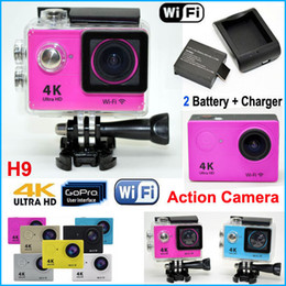 Wholesale Ultra HD K Video WiFi Sport Action Camera Waterproof M Diving LCD P helmet Camera Car DVR Camcorder Extra battery Charger