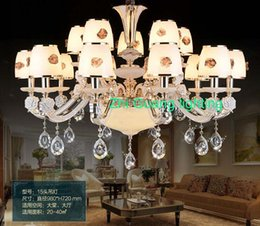 Wholesale What makes modern luxury type jade crystal chandelier dining room lamp lighting candles American atmospheric zinc alloy