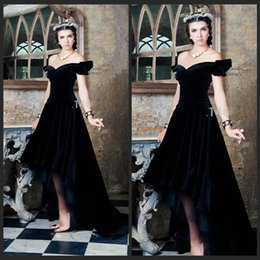 Wholesale Saudi Arabian Evening Dresses Off The Shoulder Black Velvet Long Formal Prom Party Robe De Soiree