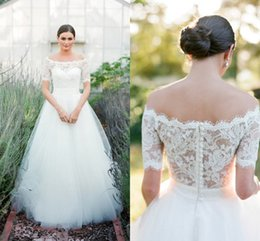 Wholesale Aria Bohemia Lace Beach Wedding Dresses Bateau Short Sleeves A line Tulle Bridal Dresses Cheap Wedding Gowns