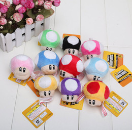 Wholesale 2 quot Super Mario Bros Mushroom With Key Chain Plush Doll Toy Chritsmas gift