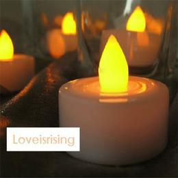 Wholesale En gros Livraison gratuite la plus basse Décoration Prix Couleur Jaune LED bougie Tea Light Flameles Lampe de soirée de mariage
