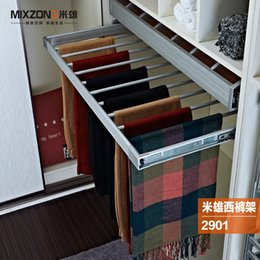 Wholesale Pull Out Adjustable Retractable Aluminum Alloy Closet Trouser Organizer Hanger Wardrobe Storage Pants Sliding Trousers Rack MIXZONE