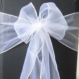 Wholesale 50 Pure White Organza Sash Chair Cover Bow Wedding Party Banquet Shimmering High Quality Brand New SASH