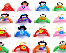 Wholesale 50pcs Mix Polymer Clay Cartoon characters Ring Lovely Kid s children Vintage girls rings Jewelry Cheap Free