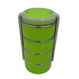 Wholesale New Stainless Steel Vacuum Round Lunch Box Four Layers Kids Keep Warm Food L Container For School Office Bento Box