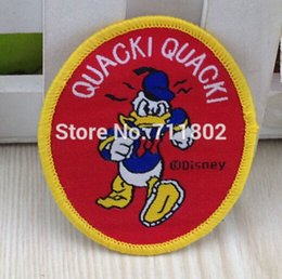 Wholesale RED duck Sew on Woven label clothes patches Animated cartoon embroidered kid s love accessories