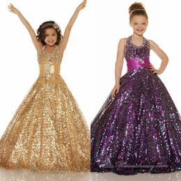 2015 Sequin Shining Long Puffy Ball Gown Pageant Dresses for Little Girls High Quality Halter Floor Length Formal Gown Flower Girl Dresses