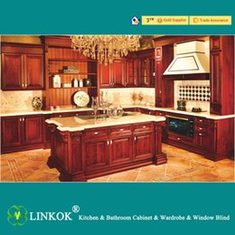 Wholesale Linkok Furniture American standard modern solid wood kitchen cabinet with baroque cabinet
