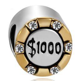 Wholesale China manufacturer gambling chip counter metal slider bead European spacer charm fit Pandora Chamilia Biagi charm bracelet