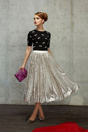 Cheap Sparkling Women Skirts Tea Length 2015 Adult Dequines Lace Party Dresses Skirts A Line Plus Size Free Shipping Long Skirts For Women