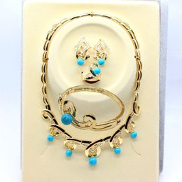 El oro de la declaración del babero de la burbuja plateó los anillos de los pendientes de las pulseras del collar suena la joyería de la turquesa para el envío libre de las mujeres desde pendientes de turquesa juego de anillos proveedores