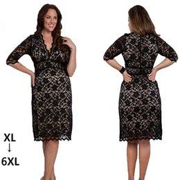 6XL Women's Plus Size Lace Dresses Spring New Fashion Women Big Size Party Dress 5XL 6XL Clothing Beige Black