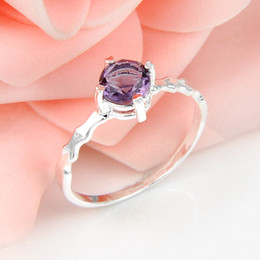 Wholesale 5 Bulk Crystal Fire Round Amethyst Gemstone Sterling Silver Ring Russia American Australia Weddings Ring Jewelry Gift