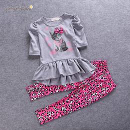 Wholesale Cat Shirt Leopard pant Suits Child Clothes Kids Clothing Leopard Print Leggings Girl Dress Children Set Kids Suit Outfits E284