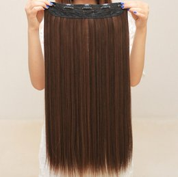Wholesale Clip In Human Hair Extensions Hair Extensions One piece Thickened Long Straight Wig Piece Five Card Of Wire At High Temperature