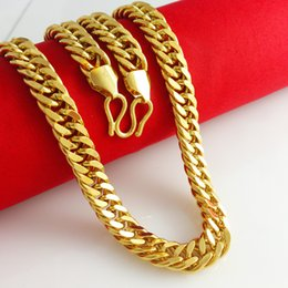2015 Fashion Necklaces Chains Heavy MENS 24K SOLID GOLD FILLED FINISH THICK MIAMI CUBAN LINK NECKLACE CHAIN Free Shipping
