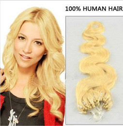 "ELIBESS HAIR - 16""- 24"" #613 WAVY Micro Ring Loop Hair Extensions Double Beads 1g s 100s lot 613 Blonde Body Wave Human Hair"