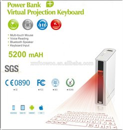 Wholesale 2015 new innovative power bank virtual laser projection keyboard and mouse via usb bluetooth for cellphone compueter tablet pc laptop noteb
