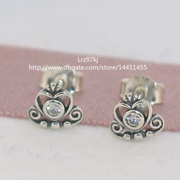 100% High-quality 925 Sterling Silver My Princess with CZ Stud Earrings Fashion Stud Earrings European Jewelry Earrings