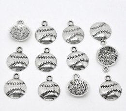 Wholesale ashion Jewelry Charms Antique Silver Tone Baseball Softball Charm Pendants x14 mm Jewelry Findings Wholesales J