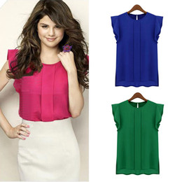Wholesale-New Womens Blouses Summer Short Sleeve Chiffon O-neck Ruffled Pleated Sleeve Chiffon Shirt Top Women's Tee Tops
