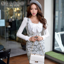 Wholesale Dabuwawa Lady s Sweet Elegant High Wasit Gray Flowers Suspender Lace Bodycon Pencil Skirt