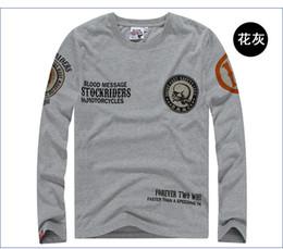 Wholesale Skull Design Printed Two Wheel Stock Rider Men Vintage Rock amp Roll Harley Punk Band Long Sleeve Tshirt Plus Size Shirt XL