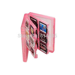 Memoria xbox en venta-Pink 28-en-1 Juego de tarjeta de memoria de la cubierta de la caja de titular Cartucho de almacenamiento para Nintendo 3DS cartucho chip de almacenamiento gif