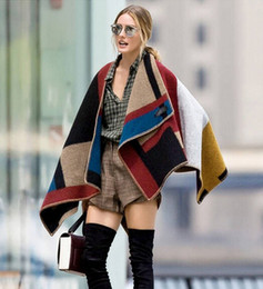 Wholesale 2014 New Fashion Women Brand Design Blanket Poncho Striped Patchwrok Wool Plain Cape For Ladies Coat